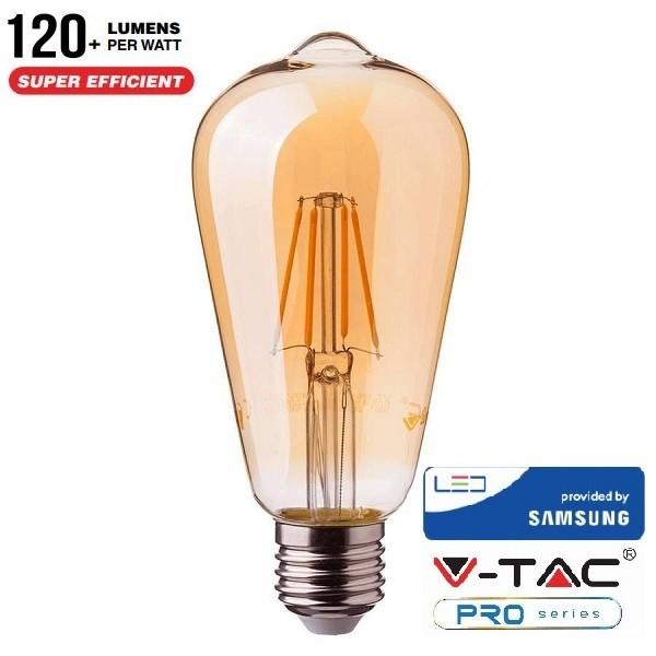 Bec LED Samsung Chip 6W E27 ST64 Alb Cald Chihlimbar