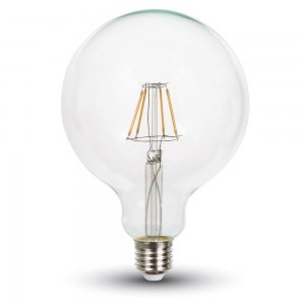 Bec LED Filament 6W E27 G125 CHIP SAMSUNG - Alb Cald
