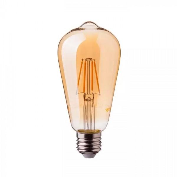 Bec LED Filament 4W E27 Amber ST64 - lum...