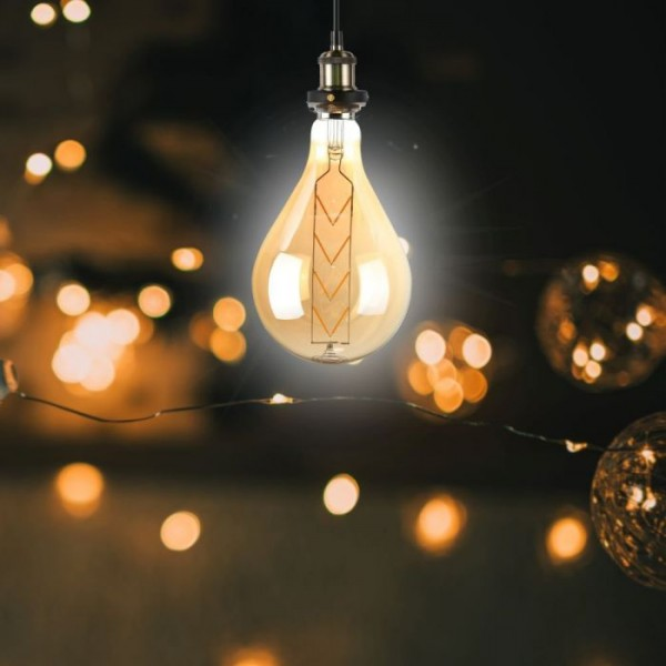 Bec LED 8W E27 Filament G165 chihlimbar