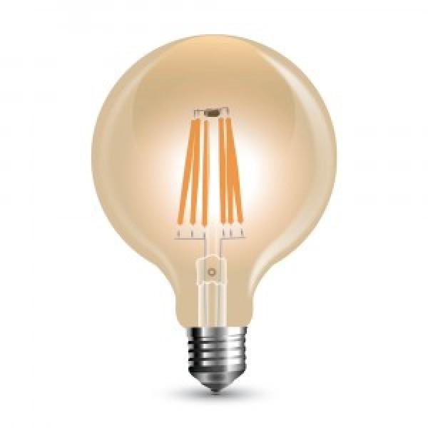 Bec LED Filament 6W E27 Dimabil Amber G95 - lumina calda