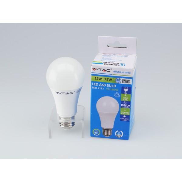 Bec LED 12W E27 A60 Termoplastic Alb Rece Dimabil
