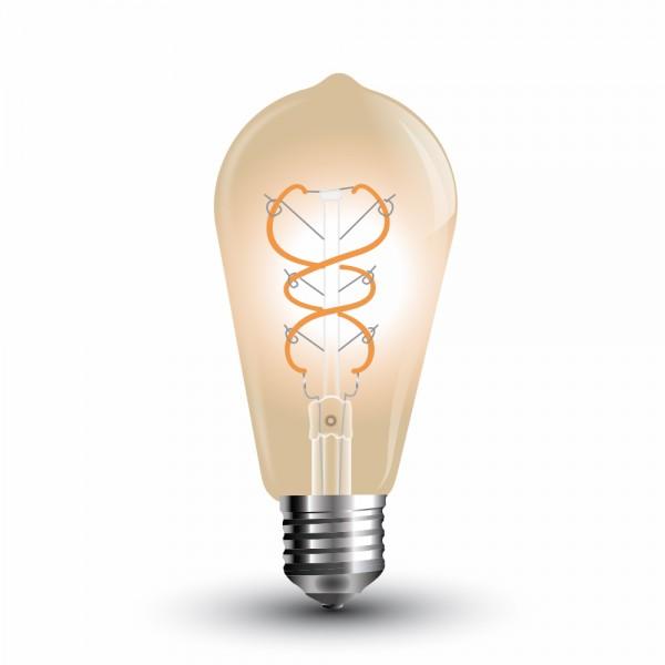 Bec LED Filament Curb 5W E27 Amber ST64 - lumina calda
