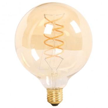 Bec LED Filament dublu spirala 6W E27 G125 Chihlimbar Alb Cald