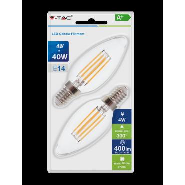 Bec LED 4W E14 Filament Lumanare Alb Cald Blister 2 bucati