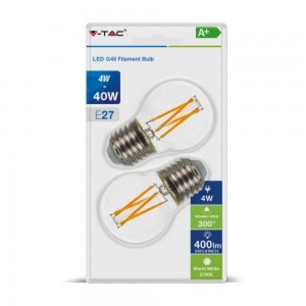 Bec LED 4W E27 G45 Filament Alb Cald Blister 2 Bucati