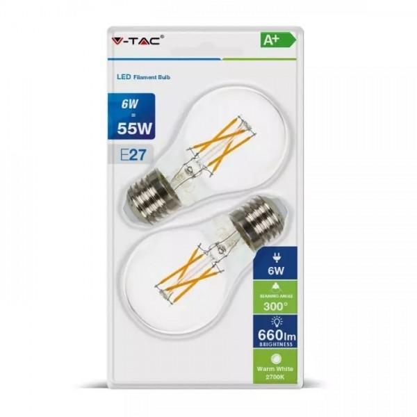 Bec LED 6W E27 A60 Filament incrucisat Alb Cald Blister 2 Bucati