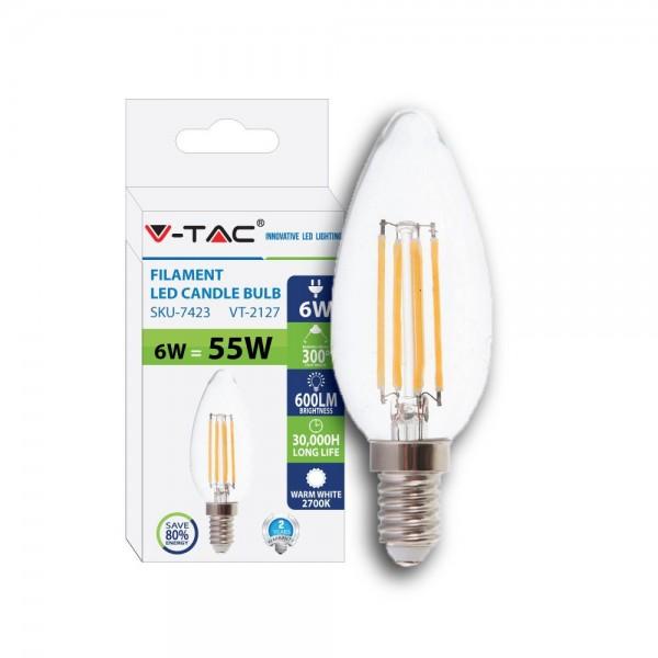 Bec LED filament lumanare 6W E14 Alb Cald