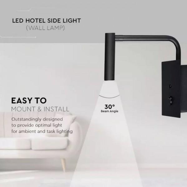 Veioza LED 3W pentru hotel cu intrerupator si port USB