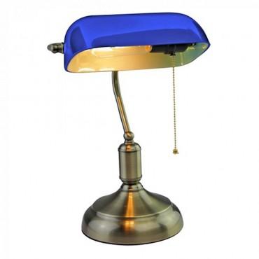 Veioza de birou vintage albastra cu dulie E27 si intrerupator