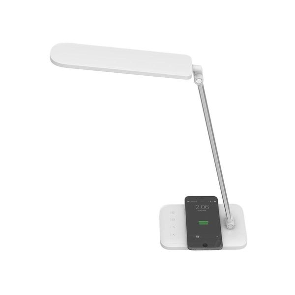 Lampa LED de birou Alba 16W incarcare wireless NFC, Dimabila 5 trepte, 3 in 1