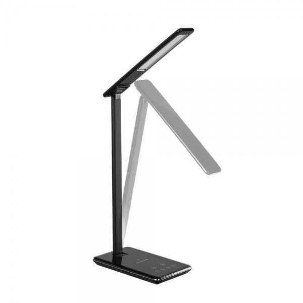 Lampa LED de birou Neagra 5W protectie pentru ochi control touch incarcare wireless telefon port USB Dimabila 4 trepte, 3 in 1