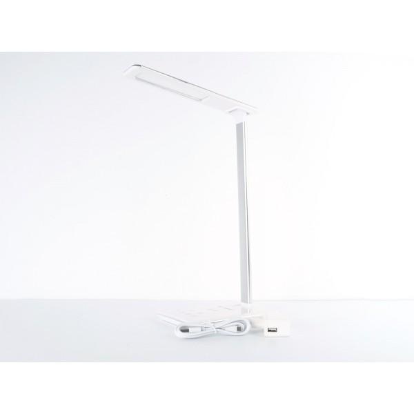 Lampa LED de birou Alba 5W protectie pentru ochi control touch incarcare wireless telefon port USB Dimabila 4 trepte, 3 in 1