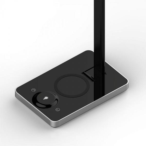 Lampa LED de birou Neagra 5W incarcare wireless telefon Dimabila 3 trepte, 3 in 1