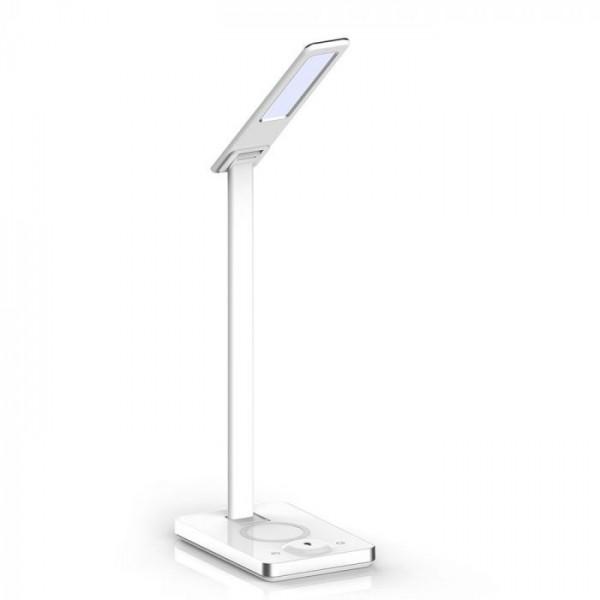 Lampa LED de birou Alba 5W incarcare wireless telefon Dimabila 3 trepte, 3 in 1