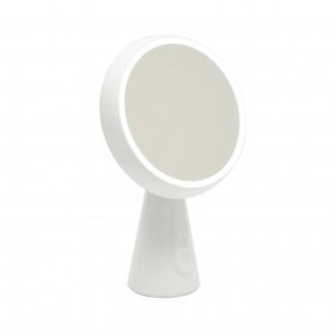 Oglinda cosmetica cu stativ si iluminare LED 5W Alba dimabila stepless reincarcabila Alb Cald