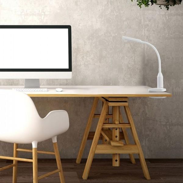Lampa LED de birou alba 7W protectie pentru ochi, inaltime reglabila, posibilitate prindere cu clema Alb Cald