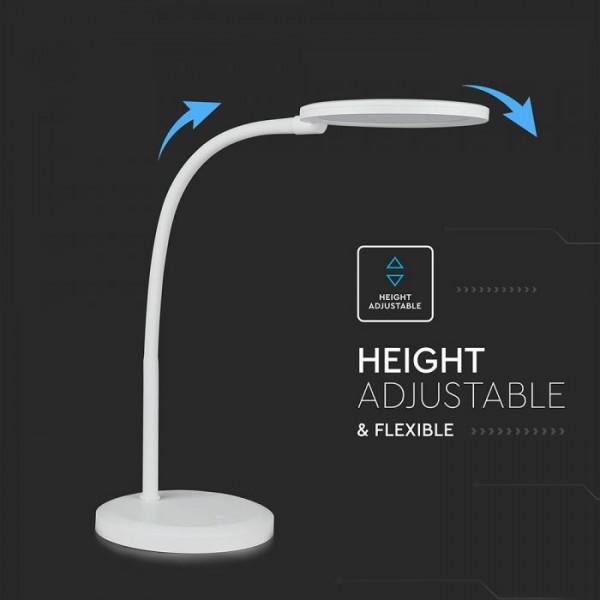 Lampa LED de birou alba 7W protectie pentru ochi, inaltime reglabila dimabila stepless Alb Cald