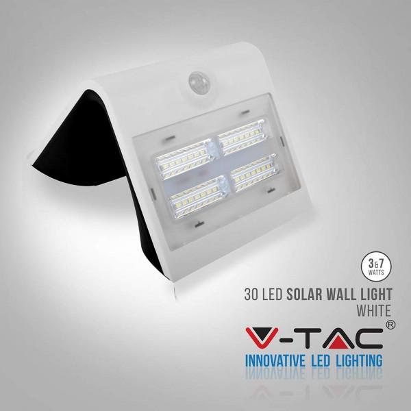 Lampa LED solara de perete 3W Alb Neutru si Alb Cald Corp Alb si Negru