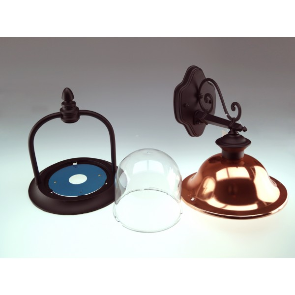 Lampa de perete 1xE27 Corp Negru Orientat in Jos