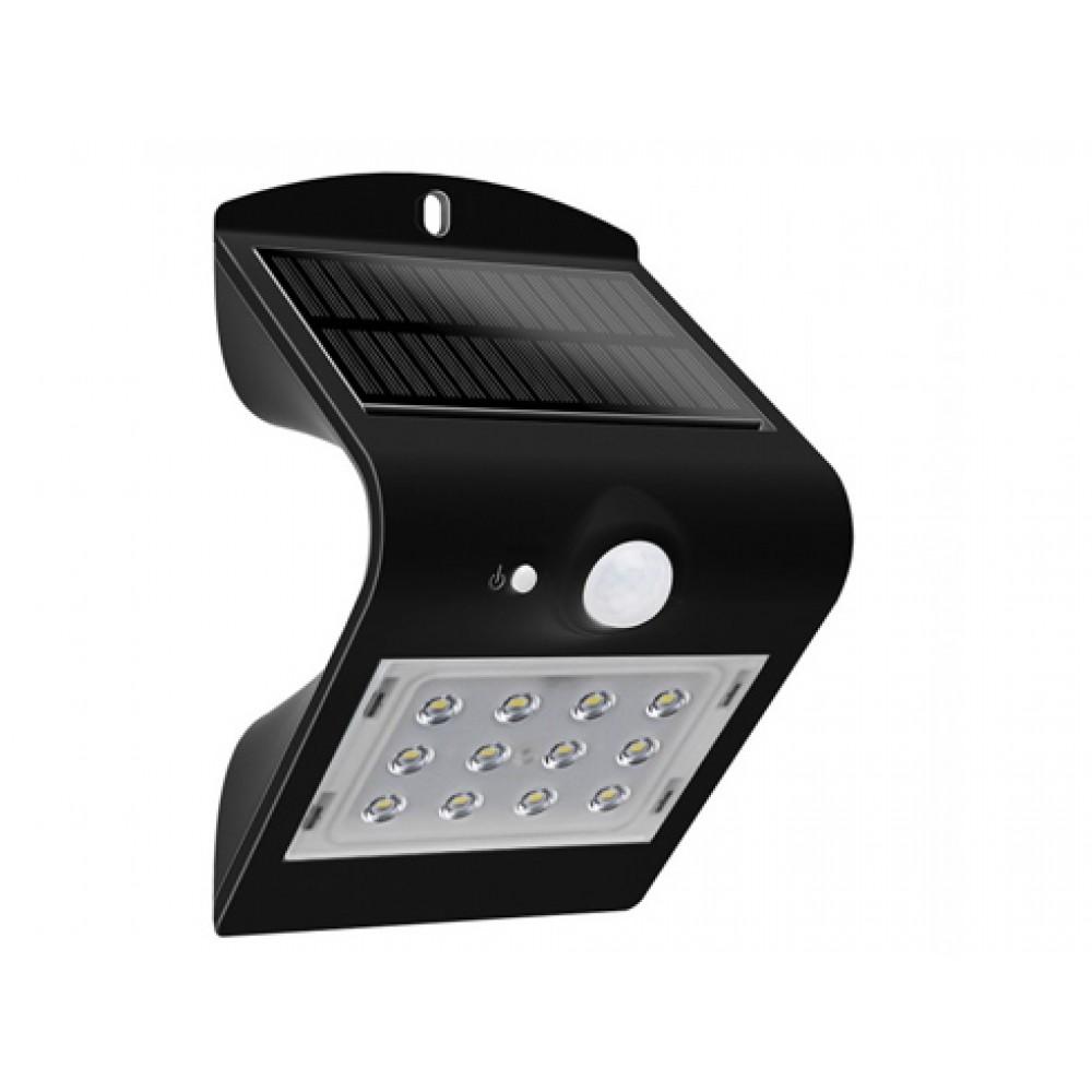 Lampa LED solara de perete 1.5W Alb Neutru Corp Negru