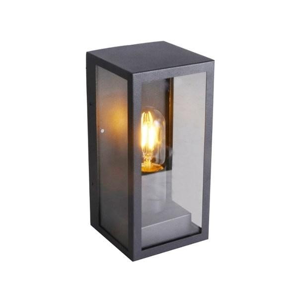 Lampadar de perete din sticla 1xE27 Corp Negru Mat