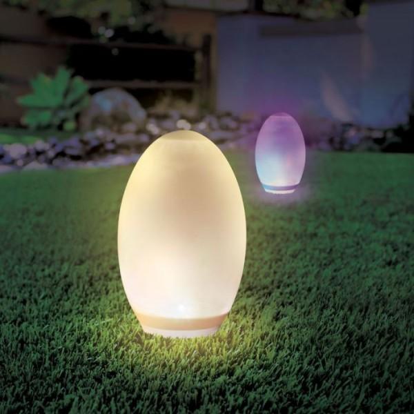 Ou LED cu incarcare solara 0.2W cu senzor si lumina RGB + Alb Cald