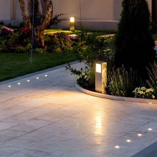 Lampadar LED 12W din Beton Corp Gri Inchis Alb Cald