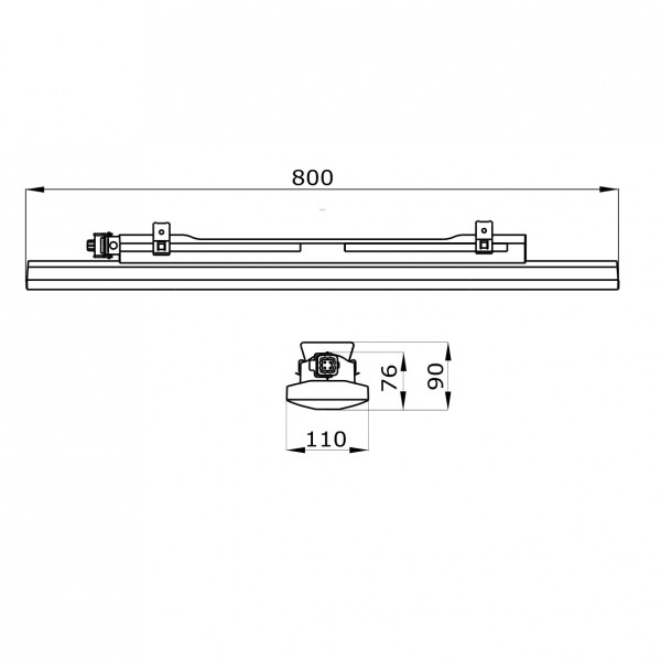 Corp iluminat liniar cu LED 800mm 27W Gewiss Smart 3 42 LED-uri Transparent
