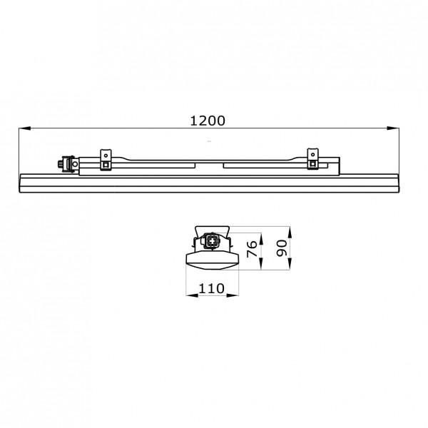 Corp iluminat liniar cu LED 1200mm 40W Gewiss Smart 3 63 LED-uri Transparent