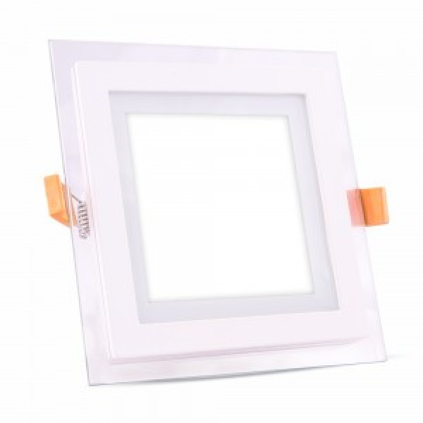 Panou LED 12W Patrat cu sticla Alb Rece