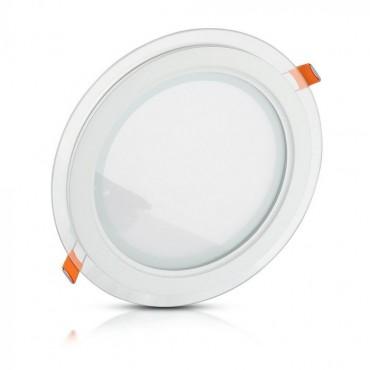 Panou LED 6W Rotund cu sticla Alb Rece