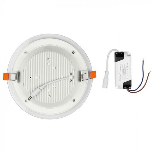 Panou LED 12W Rotund cu Sticla Alb Neutru