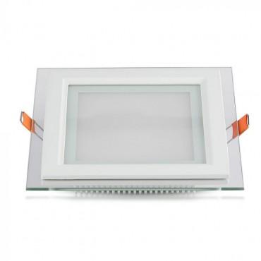 Panou LED 12W Patrat cu sticla Schimbare Temperatura Culoare