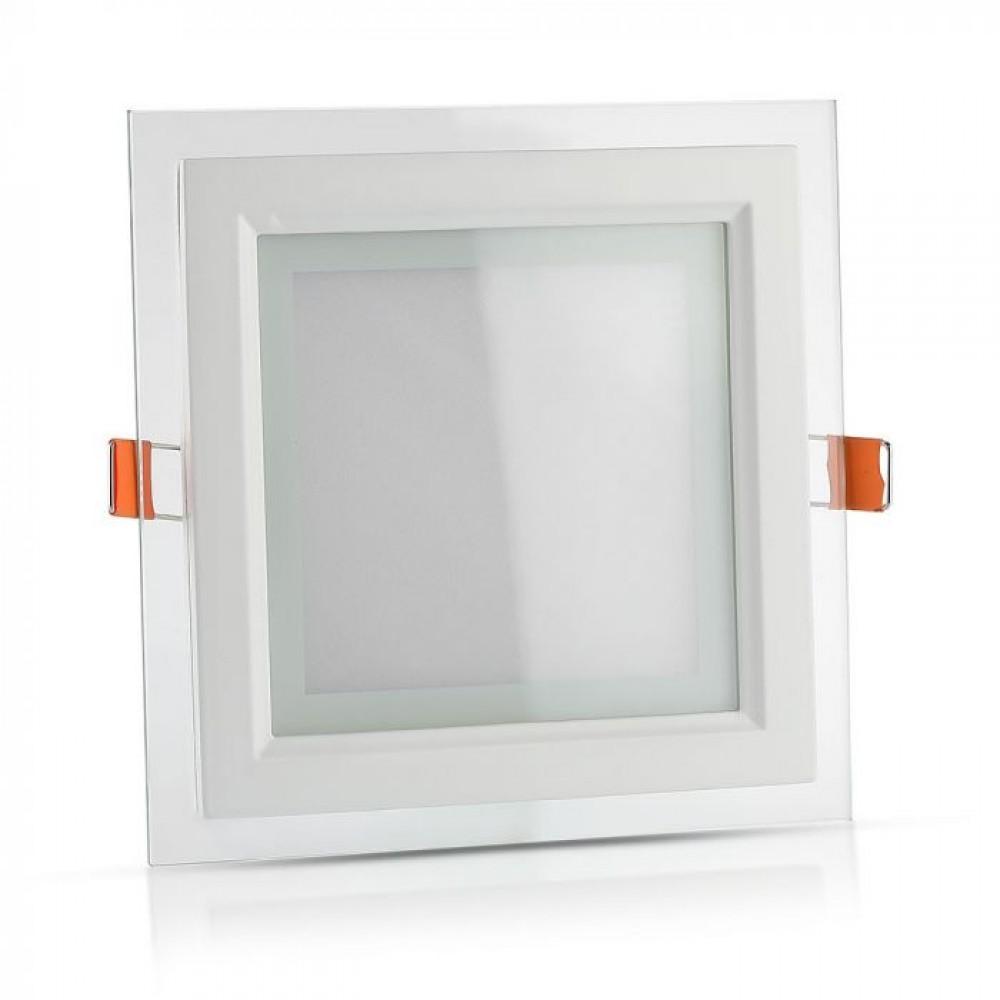 Panou LED 12W Patrat cu sticla Alb Neutru