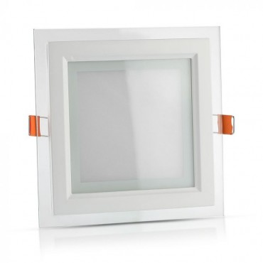 Panou LED 12W Patrat cu sticla Alb Cald