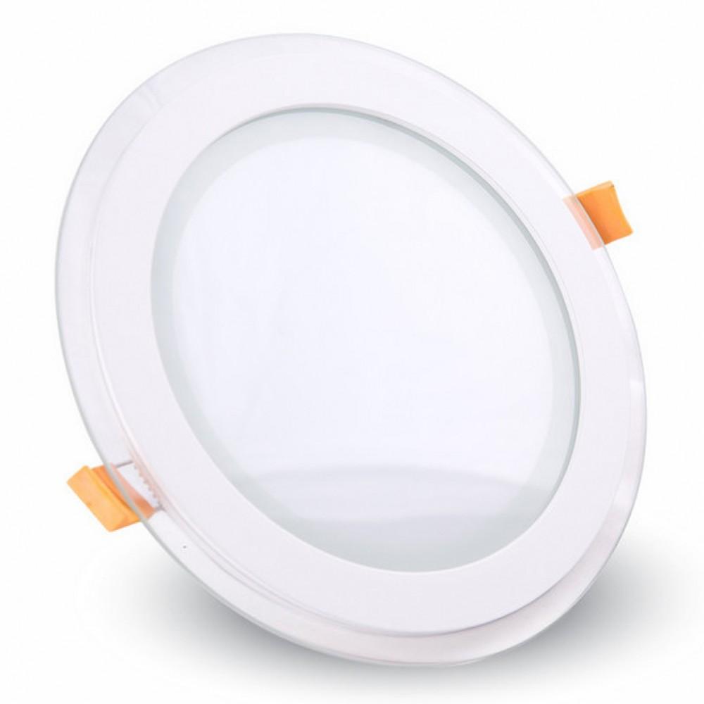 Panou LED 12W Rotund cu Sticla Alb Rece