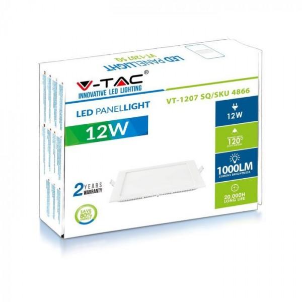 Panou LED 12W Patrat Premium Alb Cald