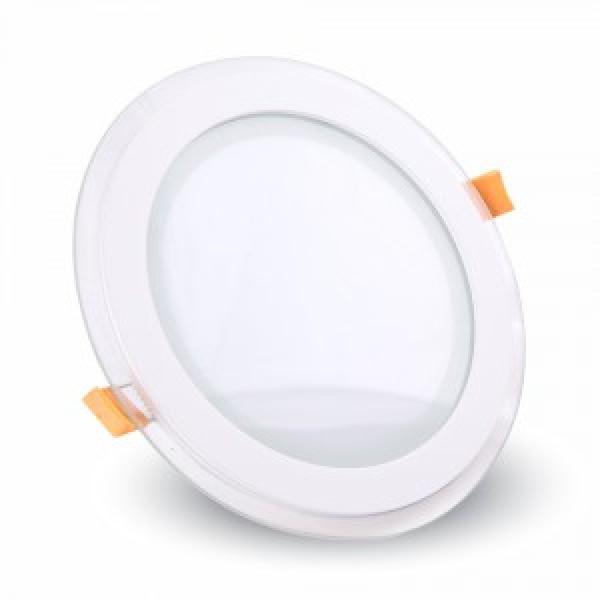 Panou LED 12W Rotund cu Sticla Schimbare Temperatura Culoare