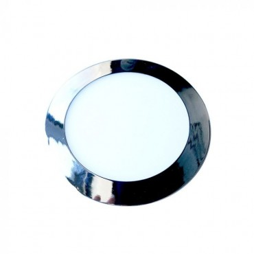 Panou LED 12W Rotund Crom Slim Alb Neutru