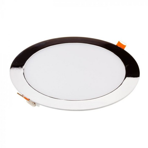 Panou LED 24W Rotund Crom Slim Alb Neutru