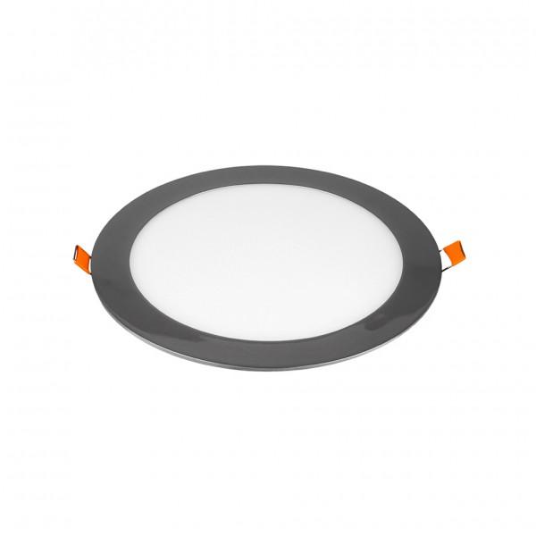 Panou LED 18W Rotund Crom Slim Alb Neutru