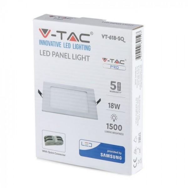 Panou LED 18W Premium Cip SAMSUNG Patrat Alb Rece