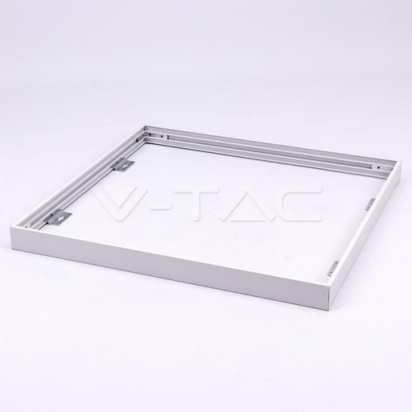 Rama alba din aluminiu cu suruburi pentru montaj aparent panouri LED 600x600mm