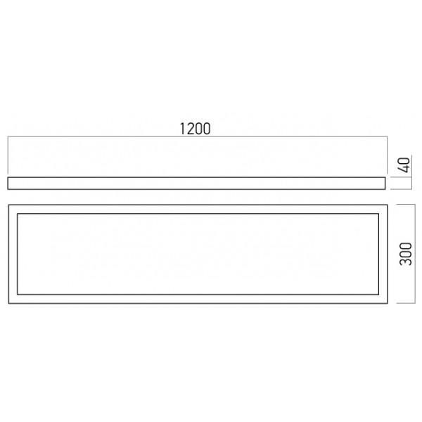 Panou LED aparent XPLANET 40W 1200x300mm Alb Neutru