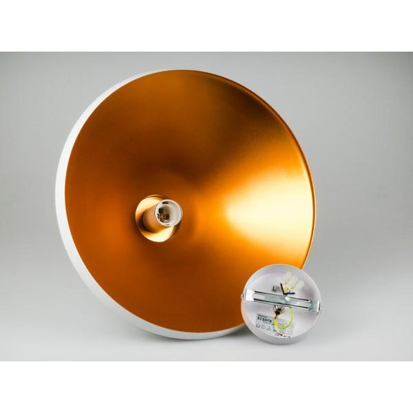 Pendul Metal Alb Lung cu Partea Superioara de Lemn Ф350mm