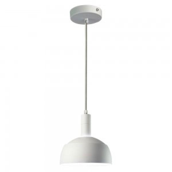 Pendul Plastic E14 cu Margine de Aluminiu Alb