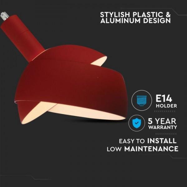 Pendul Plastic E14 cu Margine Mobila de Aluminiu Rosu