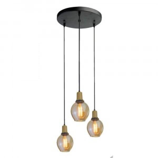 Pendul Trio de Sticla E27 Suport Lampa de Sticla aspect de Chihlimbar