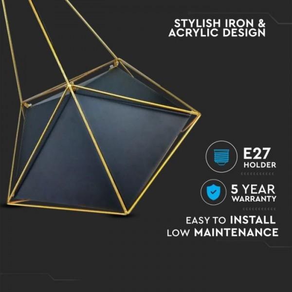 Pendul Prismatic Abajur negru si cadru auriu